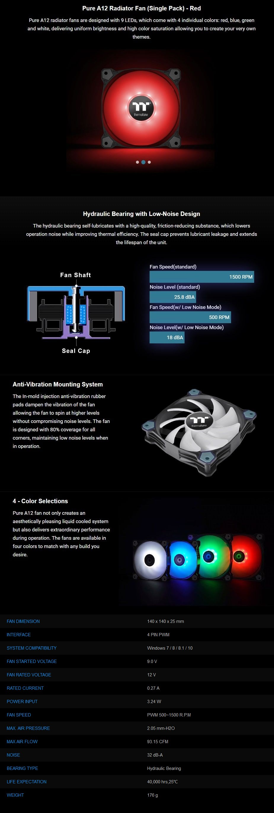 Thermaltake Pure A12 120mm LED Radiator Fan - Red - Overview 1
