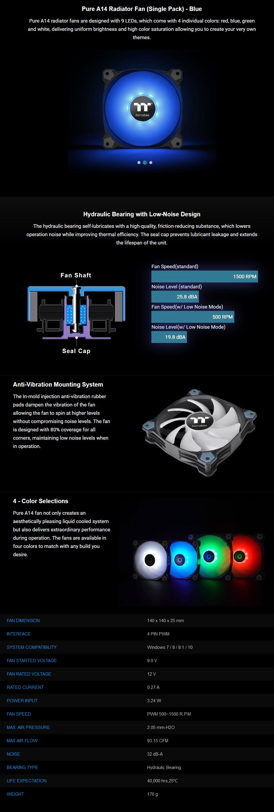 Thermaltake Pure A14 140mm LED Radiator Fan - Blue - Overview 1