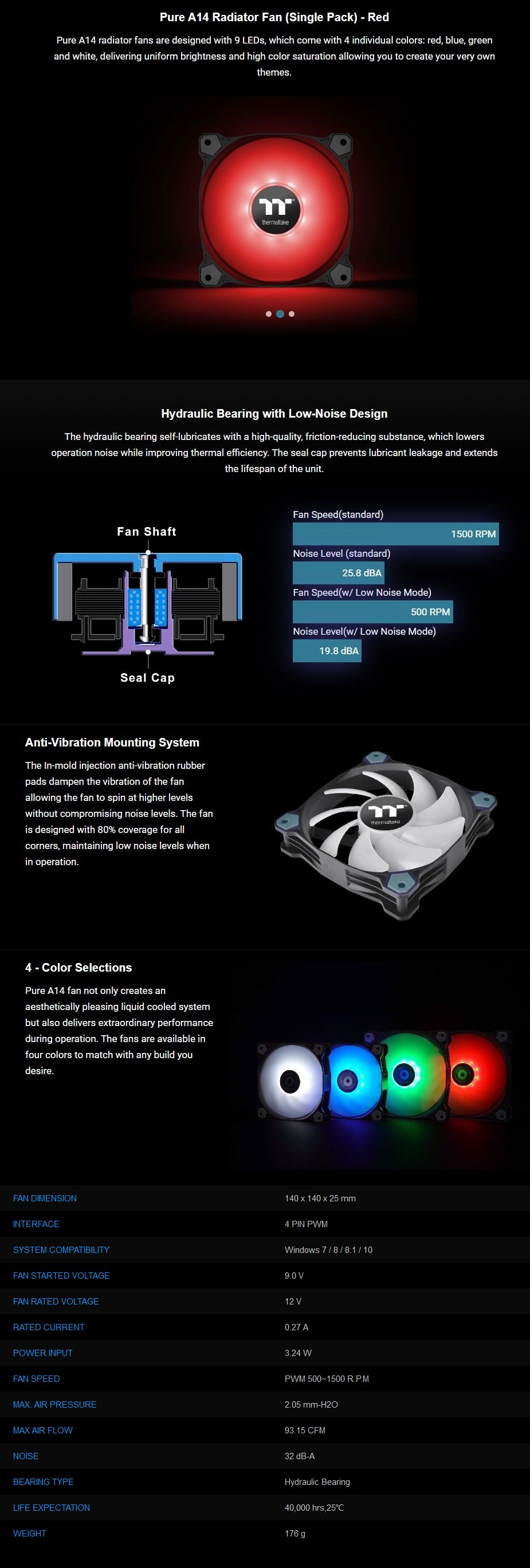 Thermaltake Pure A14 140mm LED Radiator Fan - Red - Overview 1