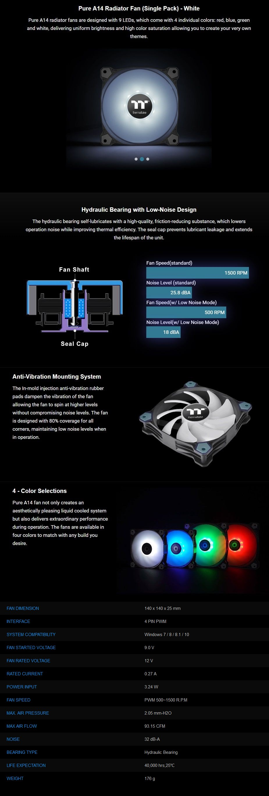 Thermaltake Pure A14 140mm LED Radiator Fan - White - Overview 1