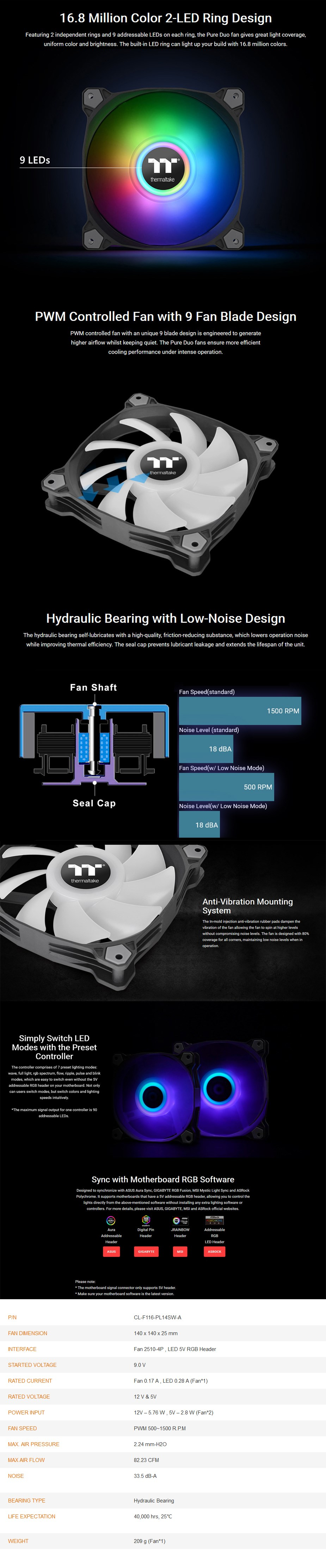 Thermaltake Pure Duo 14 140mm ARGB Radiator Fans - 2 Pack - Overview 1
