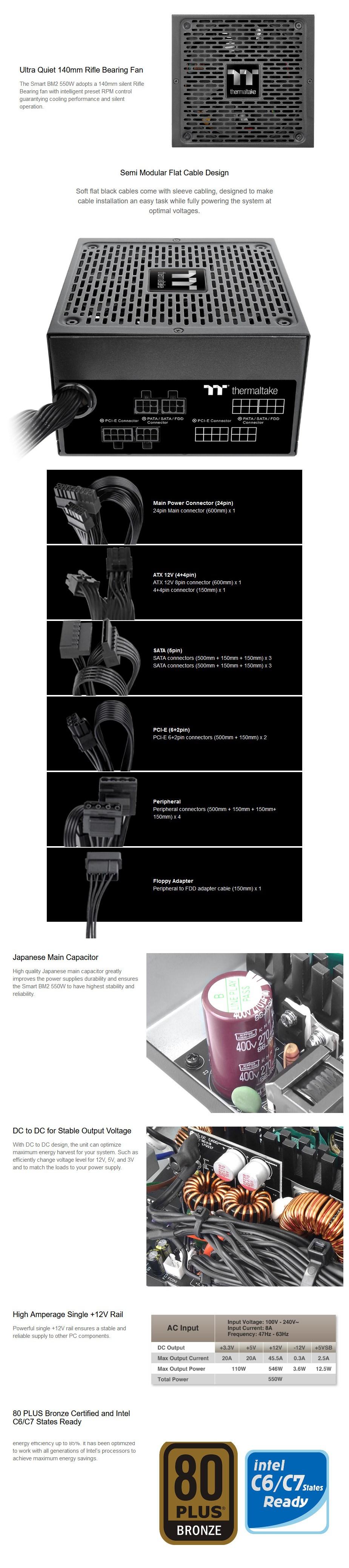 Thermaltake Smart BM2 Series 550W 80+ Bronze Semi-Modular Power Supply - Overview 1
