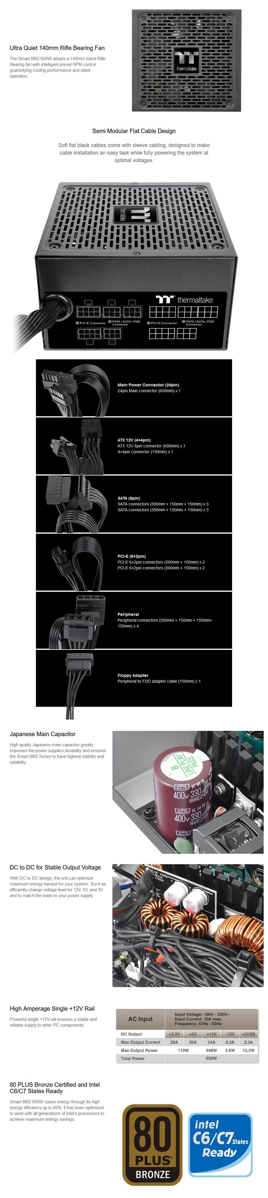 Thermaltake Smart BM2 Series 650W 80+ Bronze Semi-Modular Power Supply - Overview 1