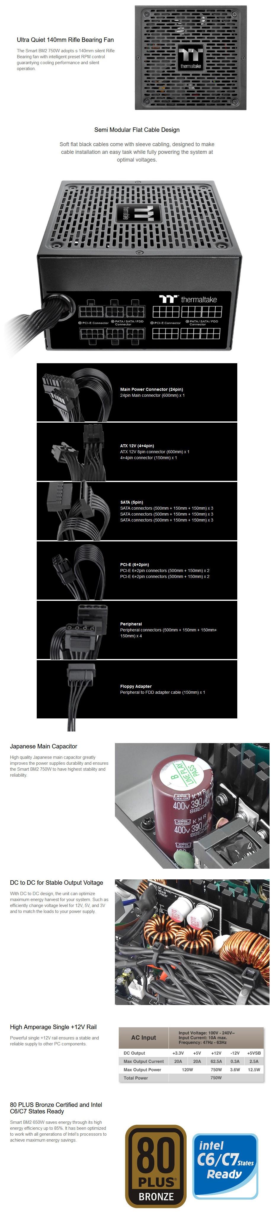 Thermaltake Smart BM2 Series 750W 80+ Bronze Semi-Modular Power Supply - Overview 1