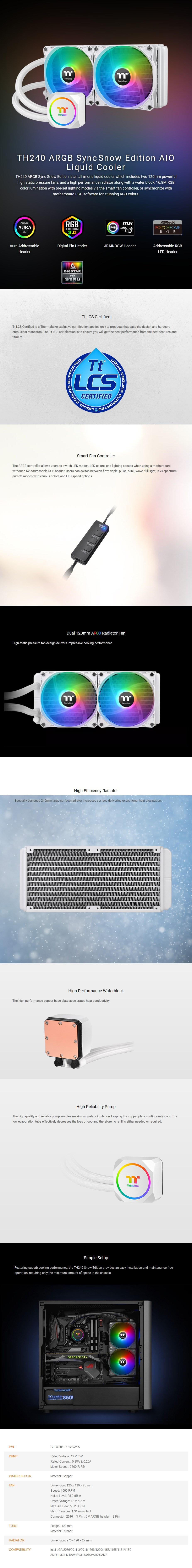 Thermaltake TH240 ARGB Sync AIO Liquid CPU Cooler - Snow Edition - Overview 1