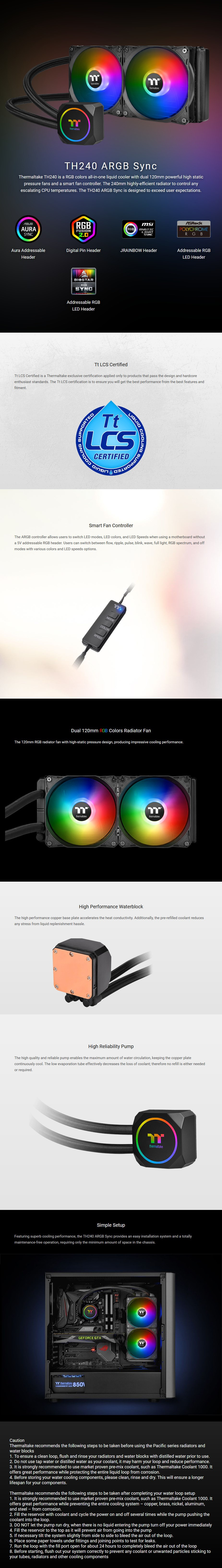 Thermaltake TH240 ARGB Sync Edition Liquid CPU Cooler - Overview 1