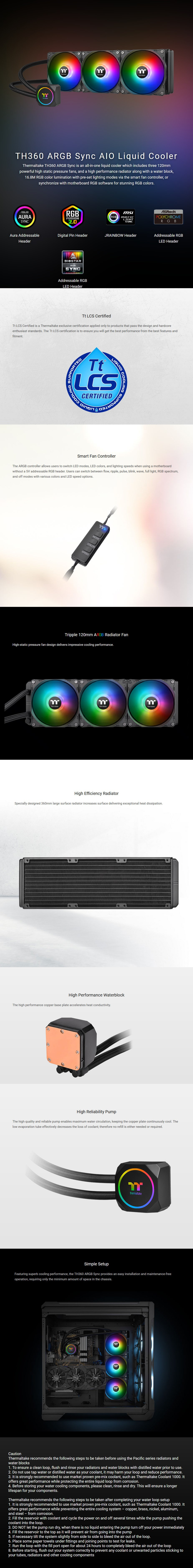 Thermaltake TH360 ARGB Sync 360mm AIO Liquid CPU Cooler - Overview 1