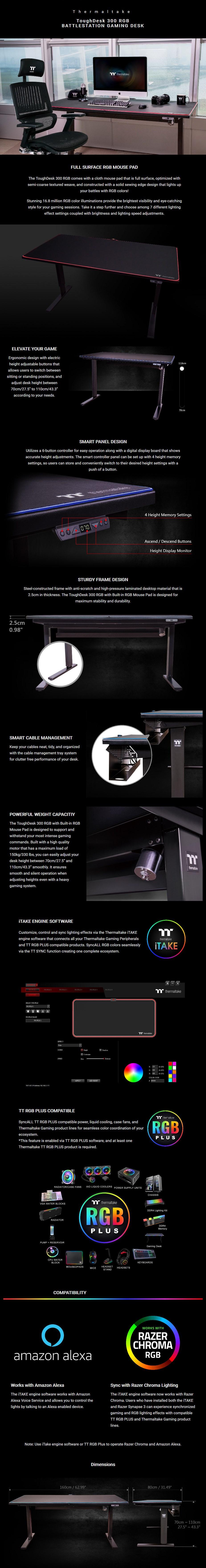 Thermaltake ToughDesk 300 RGB BattleStation Height Adjustable Gaming Desk - Overview 1