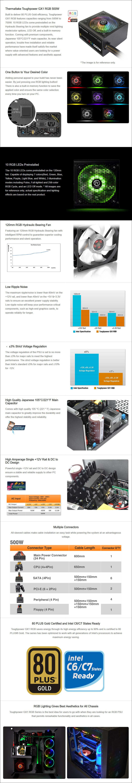 Thermaltake Toughpower GX1 RGB 500W 80+ Gold Non-Modular Power Supply - Overview 1