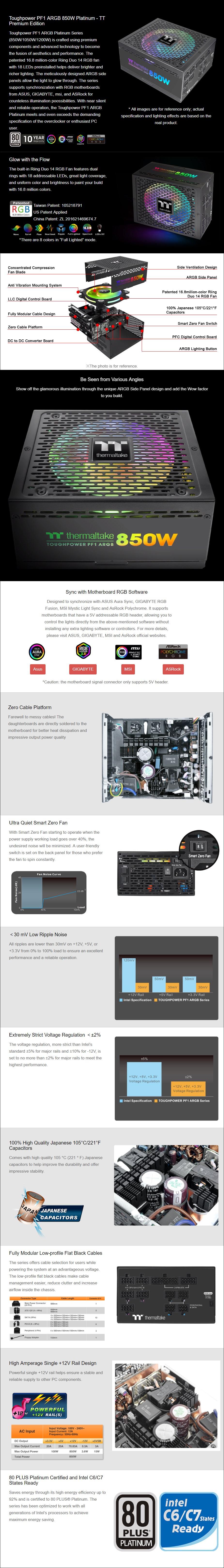 Thermaltake Toughpower PF1 ARGB 1200W 80+ Platinum Modular Power Supply - Overview 1