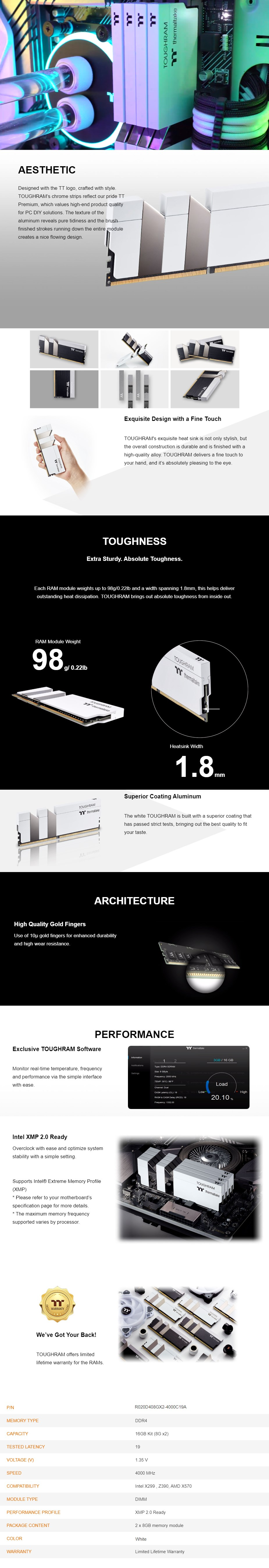 Thermaltake TOUGHRAM 16GB (2x8GB) DDR4 4000MHz Memory - White - Overview 1