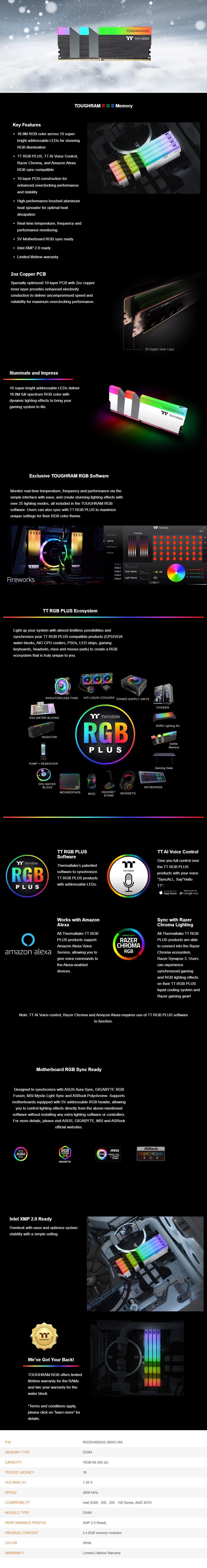 Thermaltake TOUGHRAM RGB 16GB (2x 8GB) DDR4 3200MHz Memory - White - Overview 1