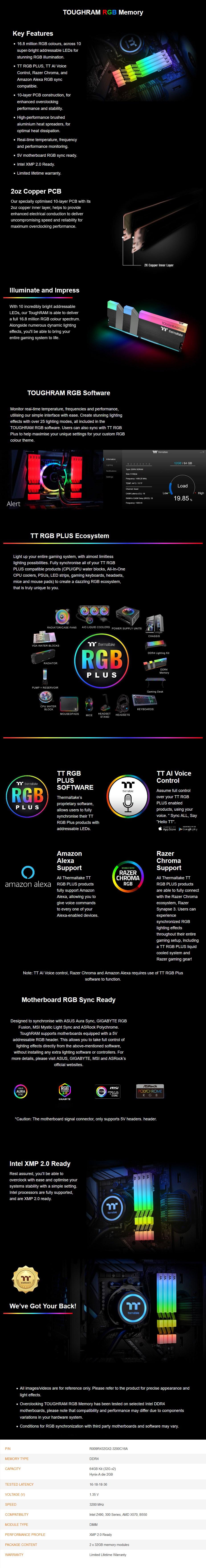 Thermaltake TOUGHRAM RGB 64GB (2x32GB) DDR4 3200MHz CL16 Memory - Black - Overview 1