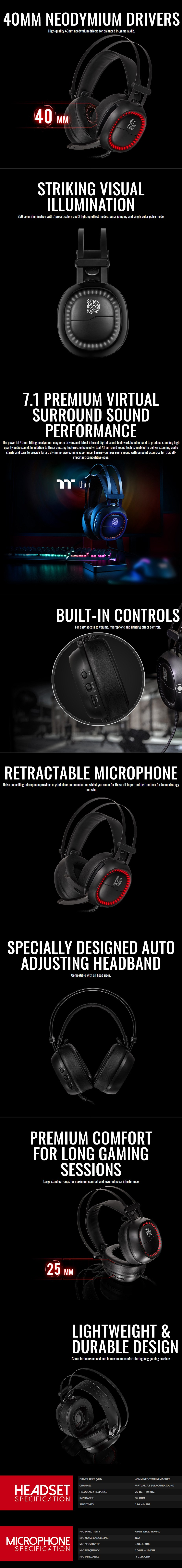 Thermaltake TteSPORTS Shock Pro RGB 7.1 USB Gaming Headset - Overview 1