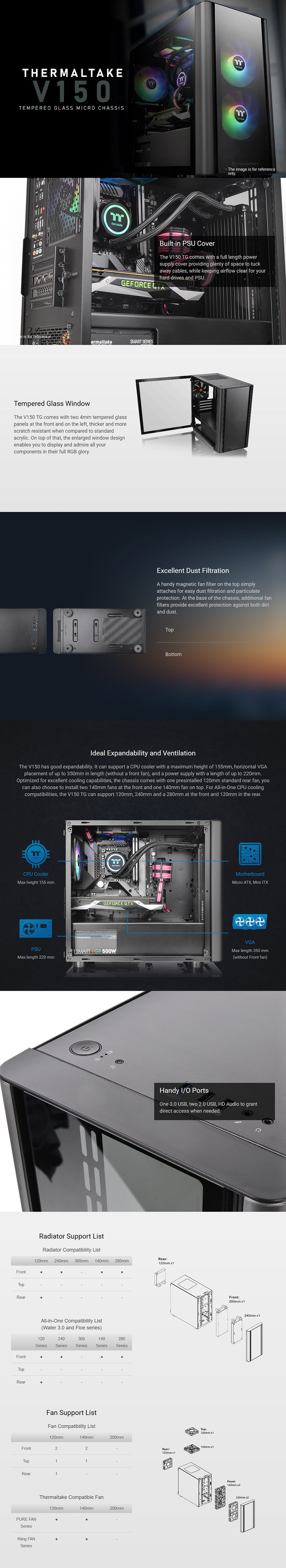Thermaltake V150 Tempered Glass Micro-ATX Case - Overview 1