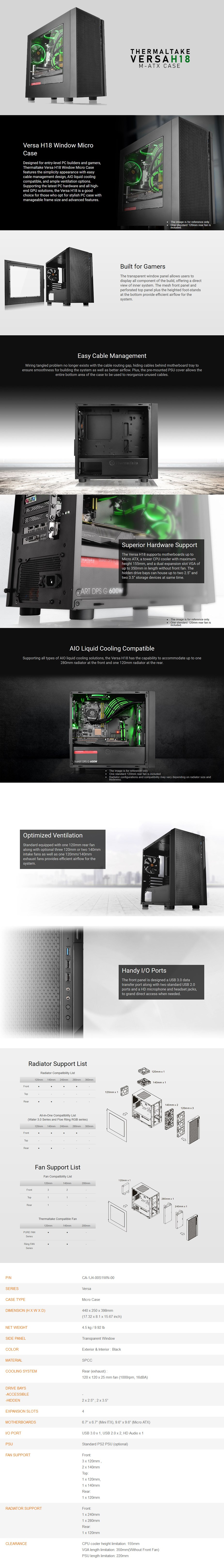 Thermaltake Versa H18 Windowed Micro-ATX Case - Overview 1