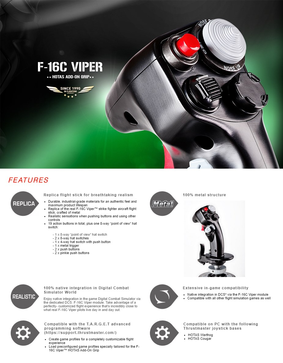 Thrustmaster F-16C VIPER HOTAS Add-On Grip - Overview 1