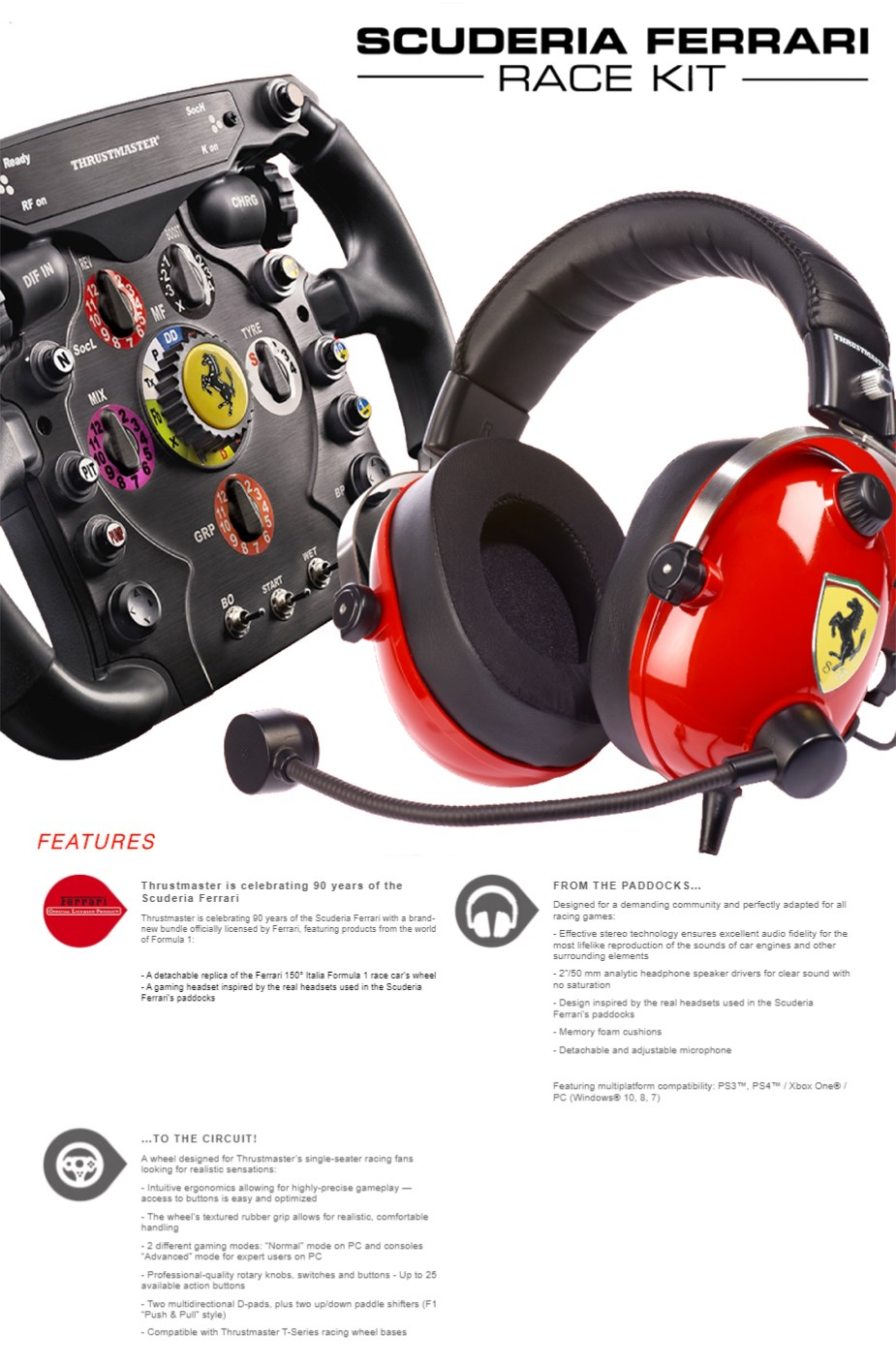 Thrustmaster Scuderia Ferrari Race Kit Add-On for PC/PS4/XB1 - Overview 1