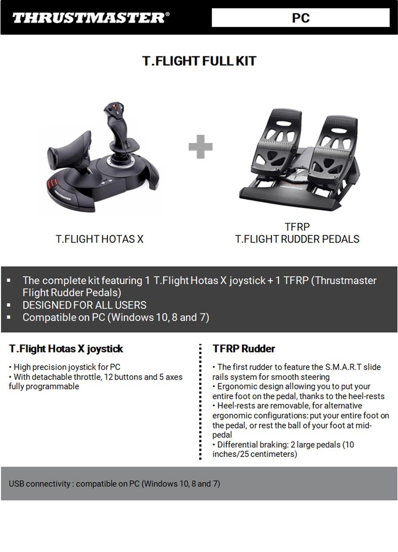 Thrustmaster T.Flight HOTAS X & Flight Rudder Pedals Bundle For PC - Overview 1