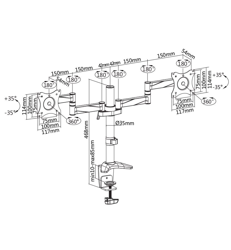 """TiXX DMM02 Dual Monitor Desktop Mount - 13""""-27"""" - Overview 1"""
