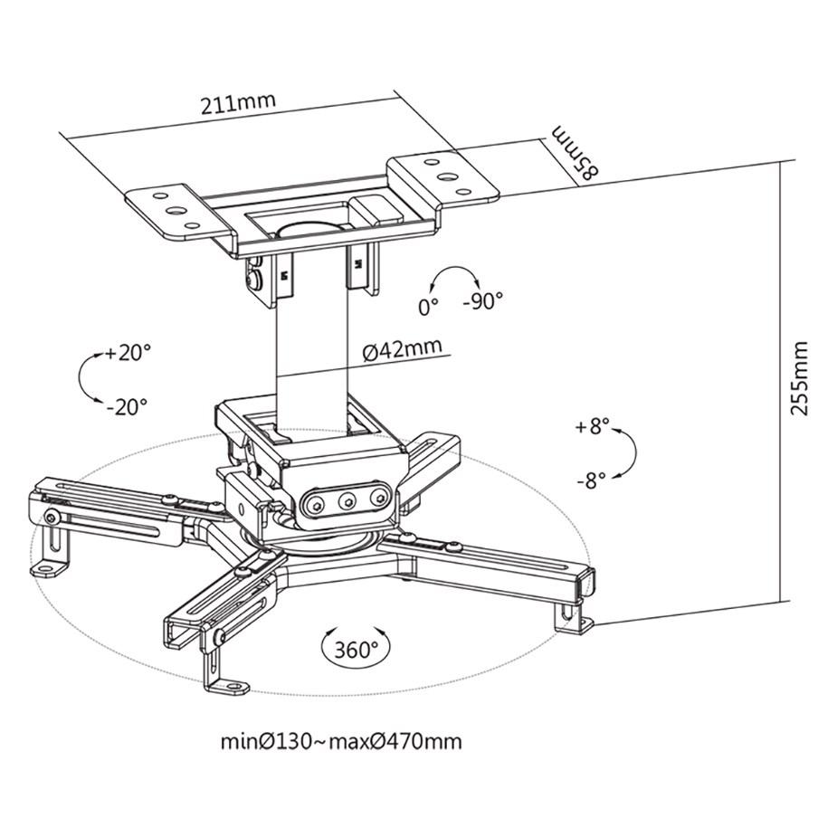 TIXX PMHD Heavy Duty Projector Ceiling Mount - White - Overview 1