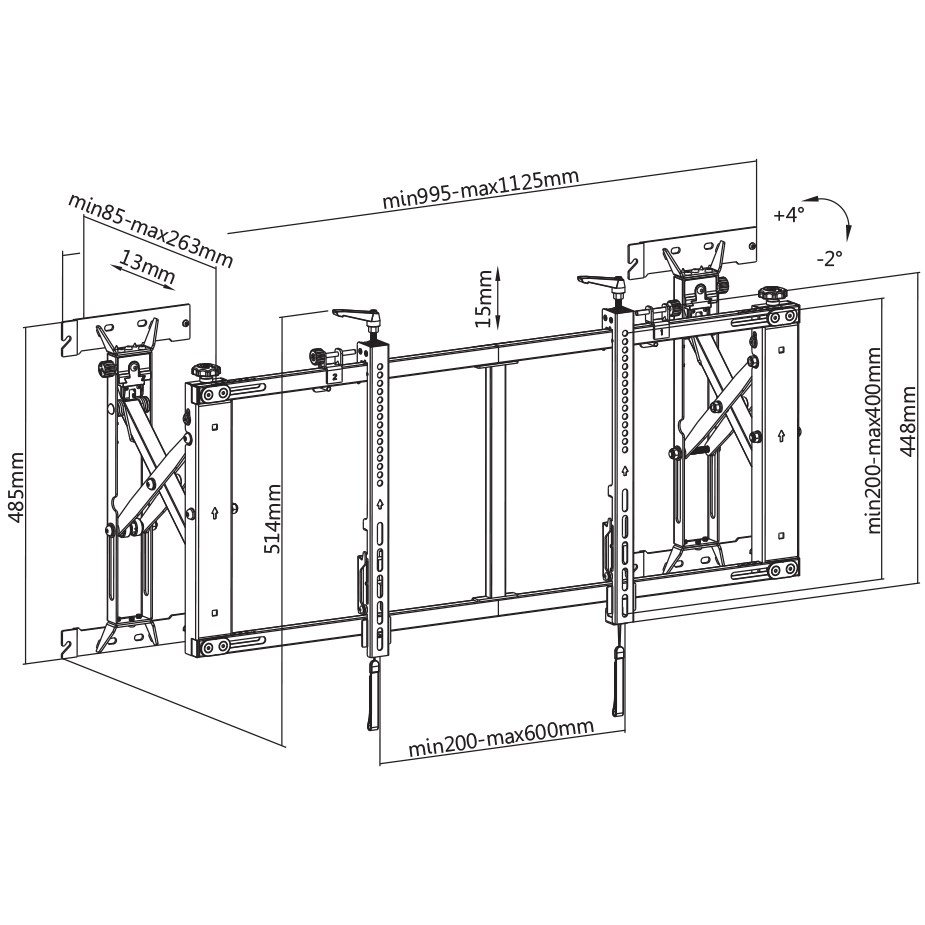 """TiXX Pop-Out TV Wall Mount System - 45""""-50"""" - Overview 1"""