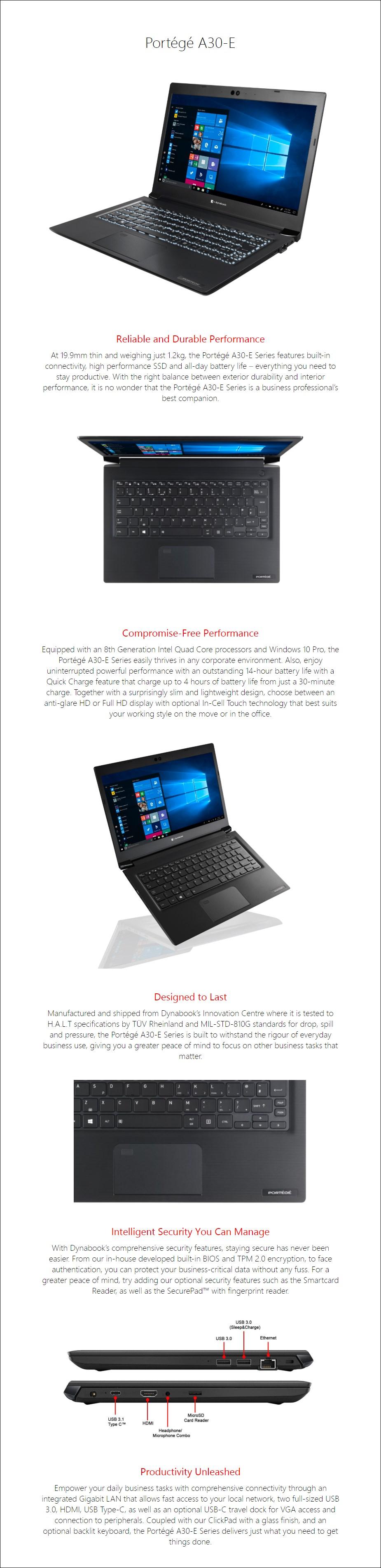 "Toshiba dynabook Portege A30-E 13.3"" Laptop i5-8250U 8GB 256GB W10P - Overview 1"