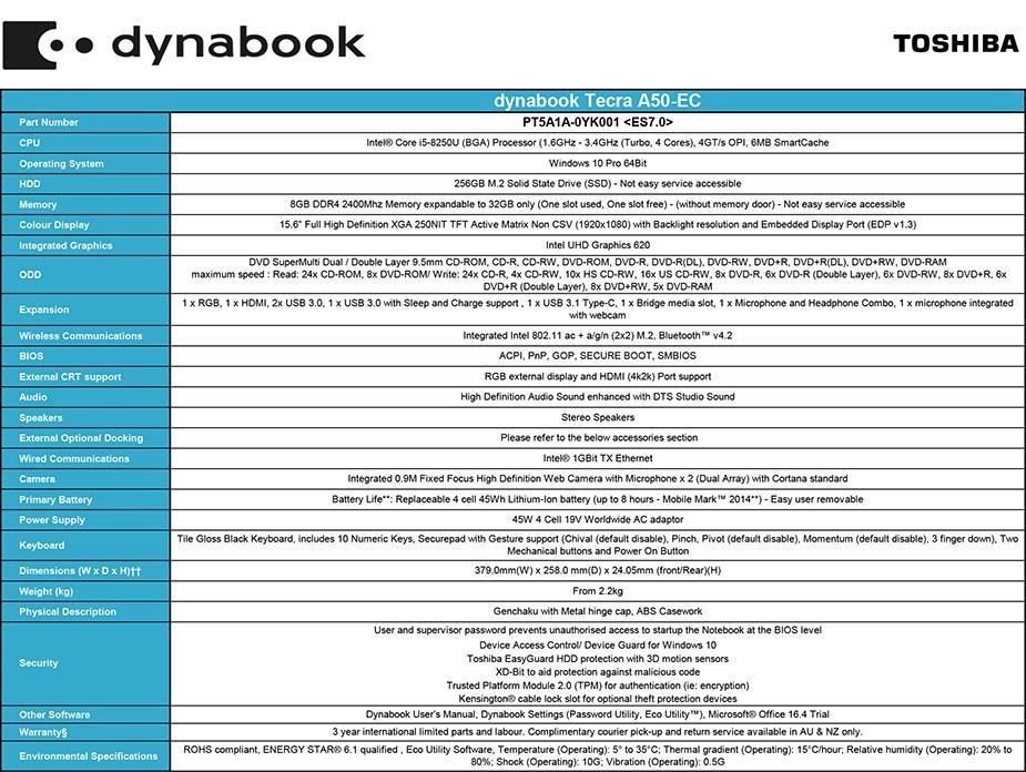 """Toshiba dynabook Tecra A50-EC 15.6"""" Laptop i5-8250U 8GB 256GB W10P - Overview 1"""