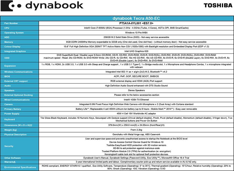 """Toshiba dynabook Tecra A50-EC 15.6"""" Laptop i7-8550U 8GB 256GB W10P - Overview 1"""