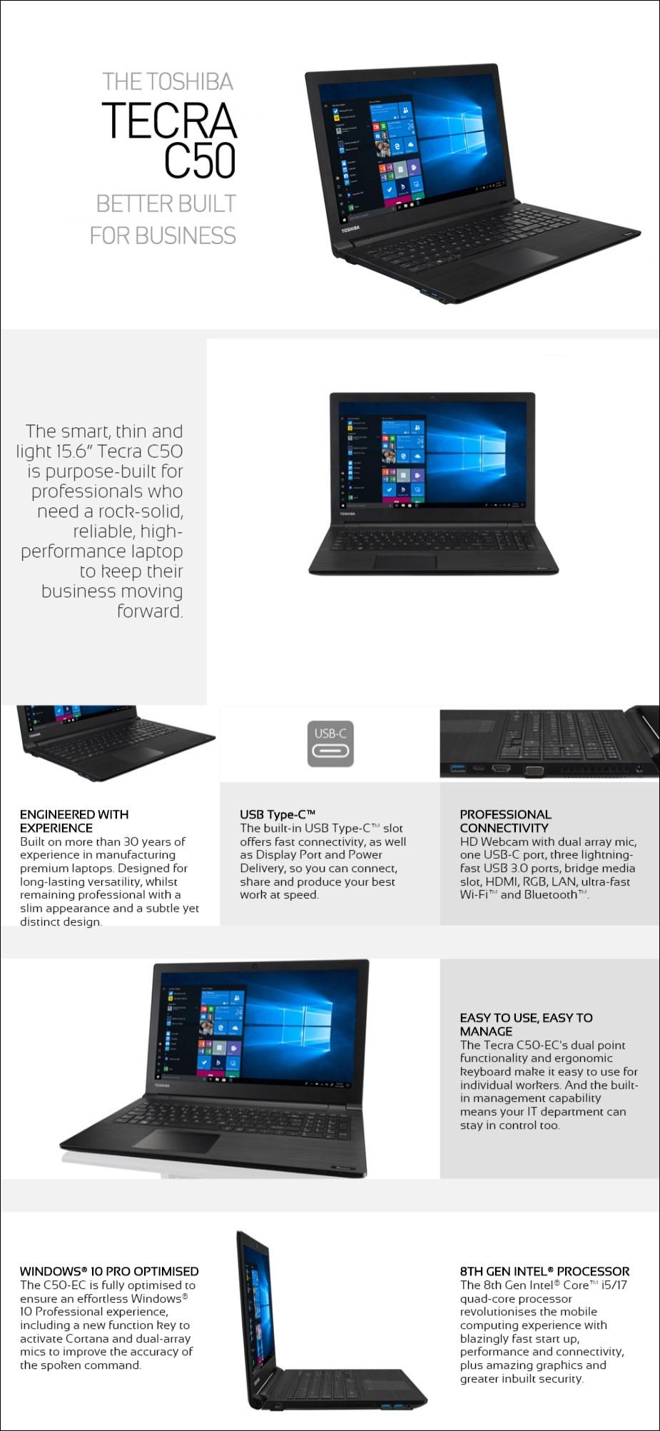 """Toshiba dynabook Tecra C50-EC 15.6"""" Laptop i7-8550U 8GB 256GB W10P - Overview 1"""
