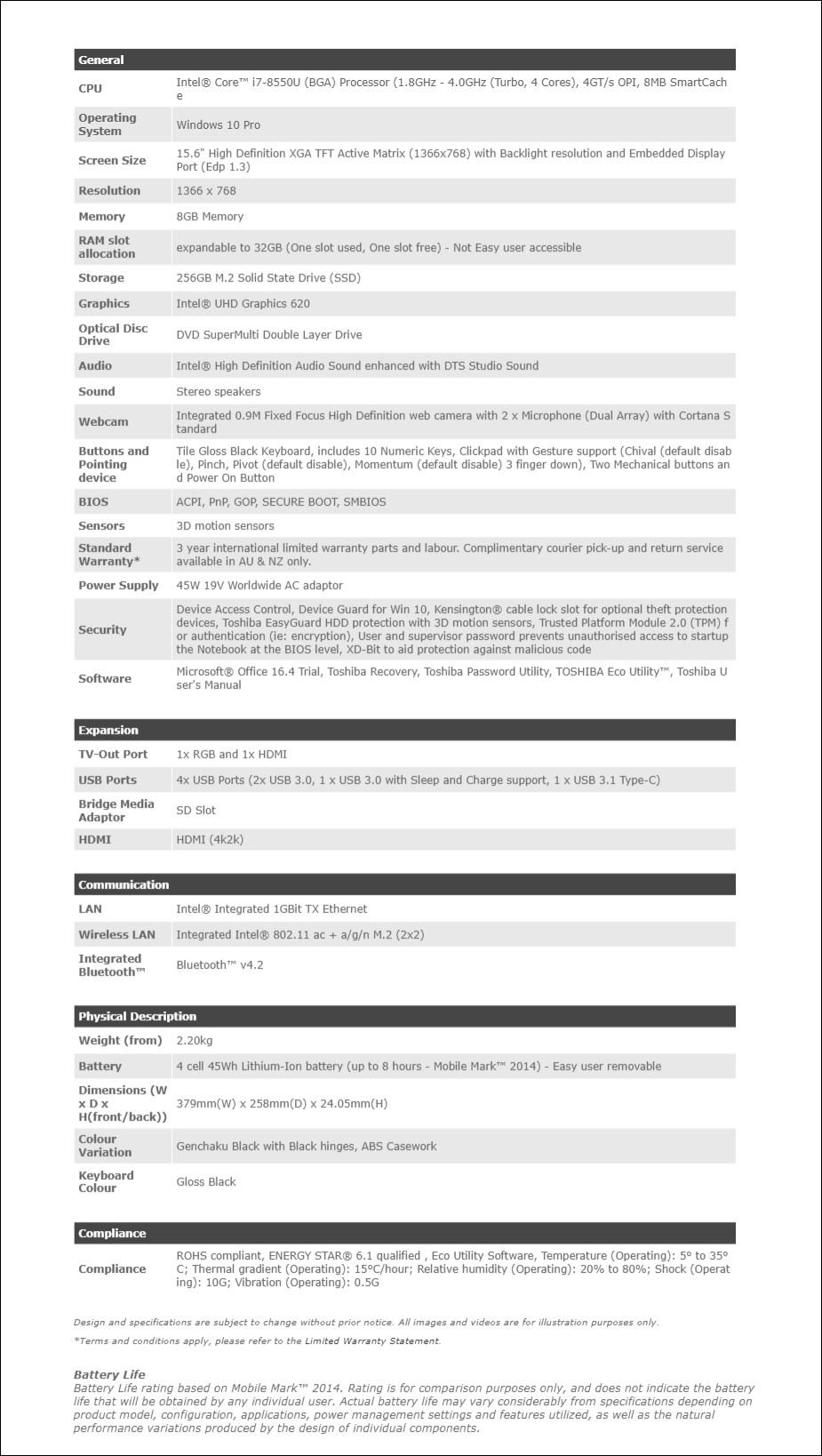 """Toshiba dynabook Tecra C50-EC 15.6"""" Laptop i7-8550U 8GB 256GB W10P - Overview 2"""