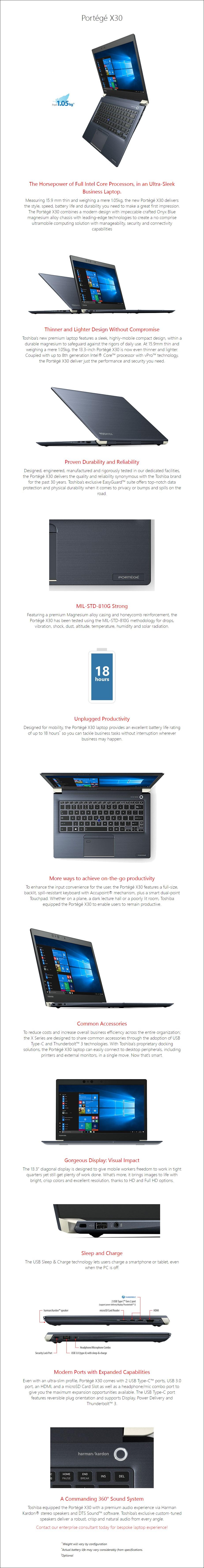 """Toshiba Portege X30-E 13.3"""" Laptop i7-8550U 8GB 256GB W10P Touch - Overview 1"""
