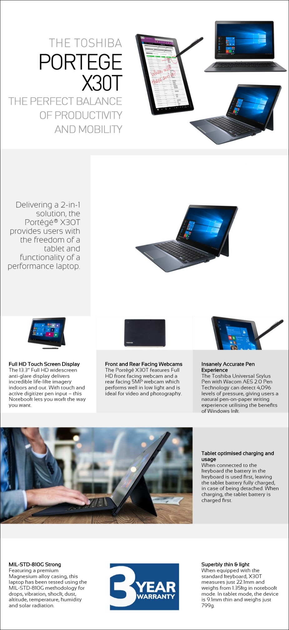 """Toshiba Portege X30T-E 13.3"""" 2-in-1 Laptop i5-8250U 8GB 256GB W10P Touch - Overview 1"""