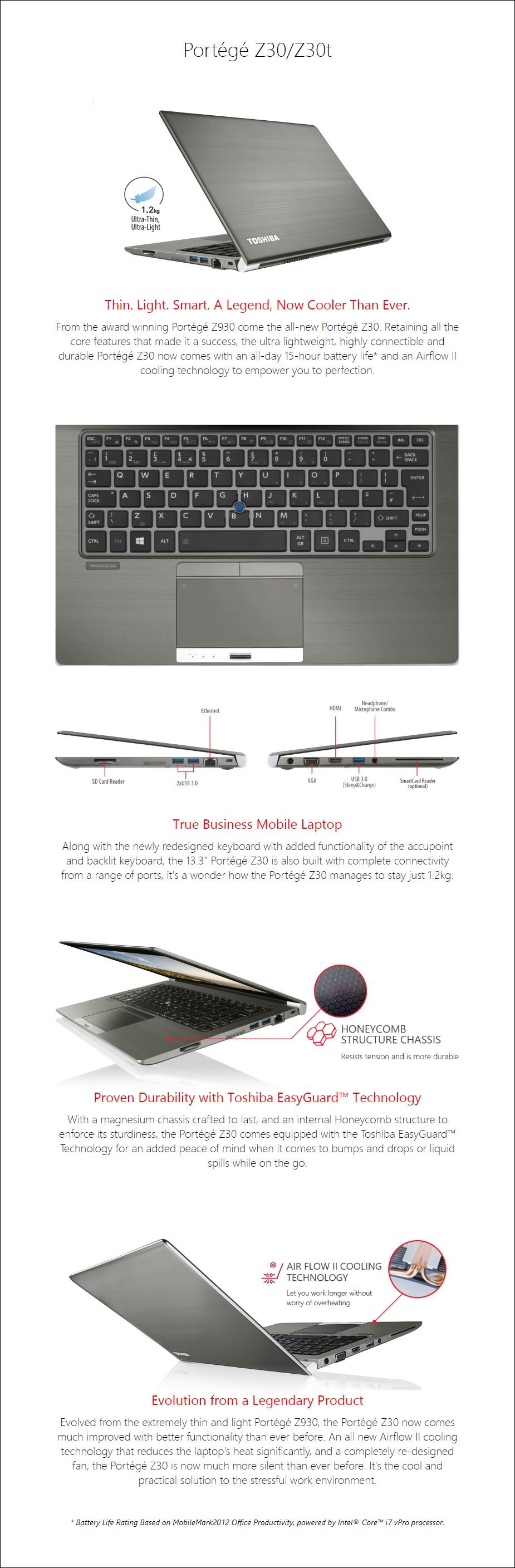 """Toshiba Portege Z30-C 13.3"""" Laptop i5-6300U 8GB 256GB W10P 4G - Overview 1"""