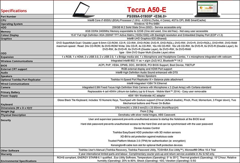 "Toshiba Tecra A50-E 15.6"" Laptop i7-8550U 8GB 256GB W10P - Overview 1"