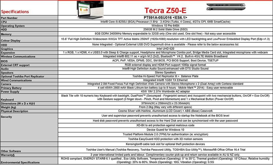 """Toshiba Tecra Z50-E 15.6"""" Laptop i5-8250U 8GB 256GB W10P - Overview 2"""