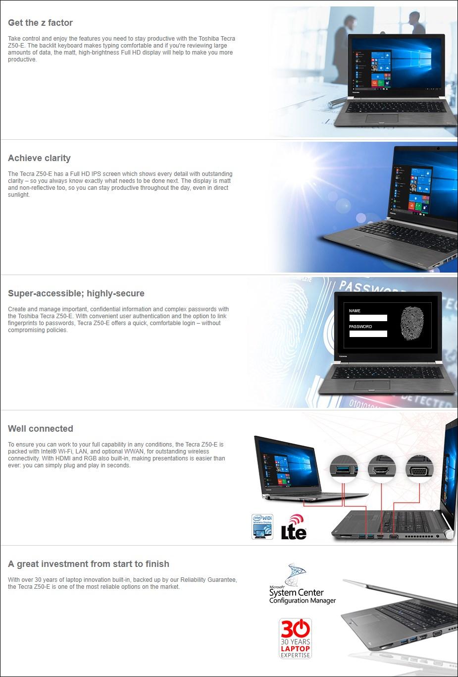 """Toshiba Tecra Z50-E 15.6"""" Laptop i5-8250U 8GB 256GB W10P - Overview 1"""