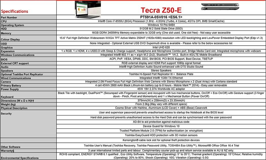 """Toshiba Tecra Z50-E 15.6"""" Laptop i7-8550U 16GB 512GB W10P - Overview 2"""