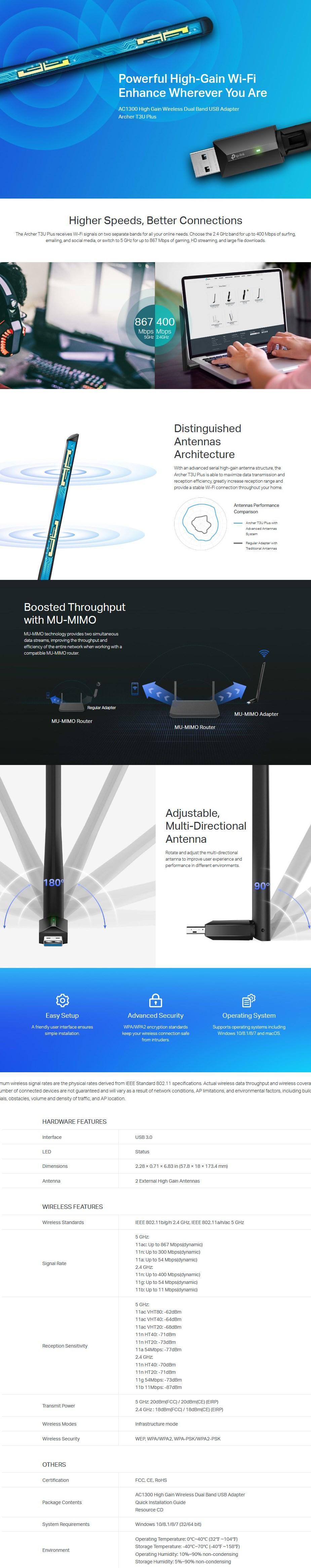 Tp-Link Archer T3U Plus AC1300 High Gain Wireless Dual Band USB Adapter - Desktop Overview 1