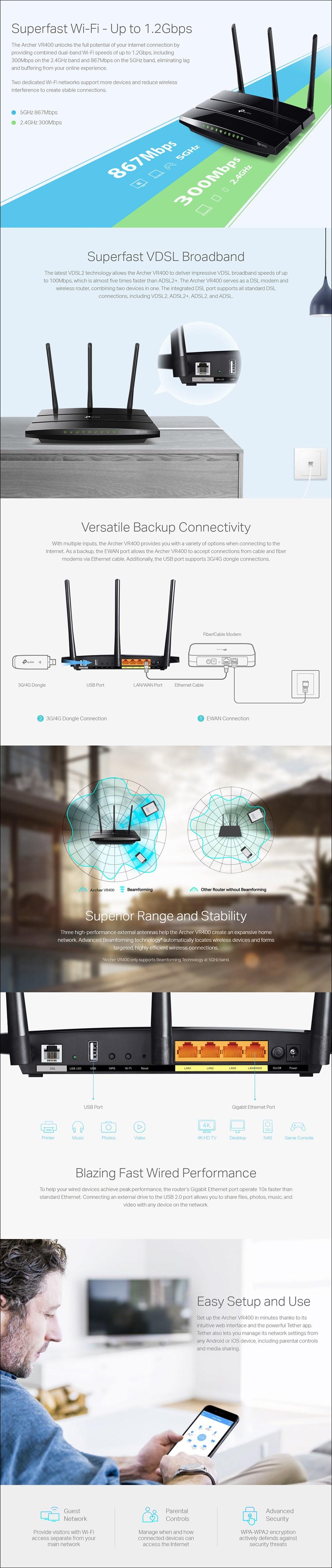 TP-Link Archer VR400 AC1200 Wireless VDSL/ADSL Modem Router - NBN Ready - Overview 1