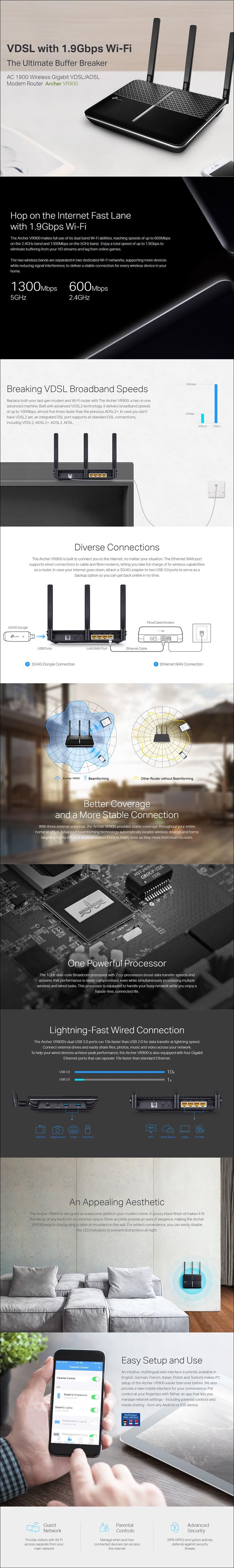 TP-Link Archer VR900 AC1900 Wireless VDSL/ADSL Modem Router - NBN Ready - Overview 1