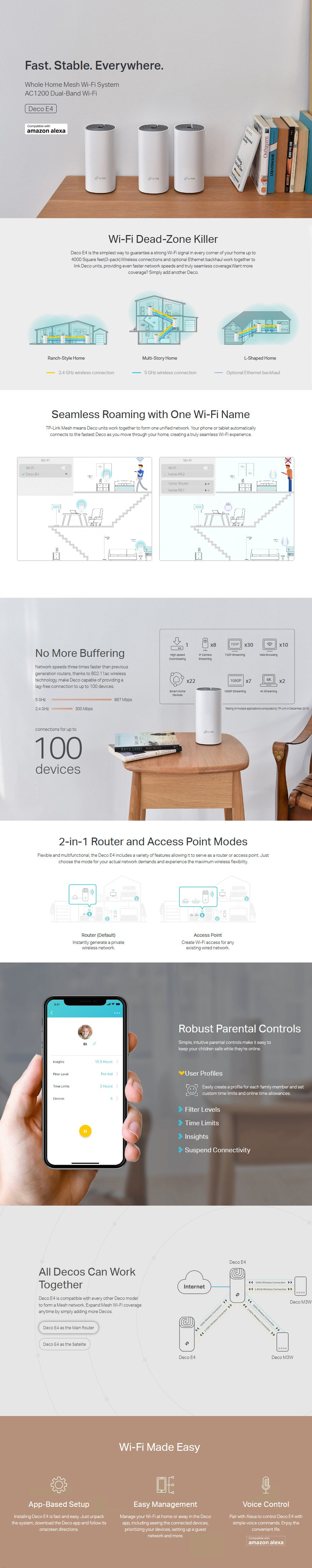 TP-Link Deco E4 AC1200 Whole Home Mesh Wi-Fi Router System - 3 Pack - Overview 1