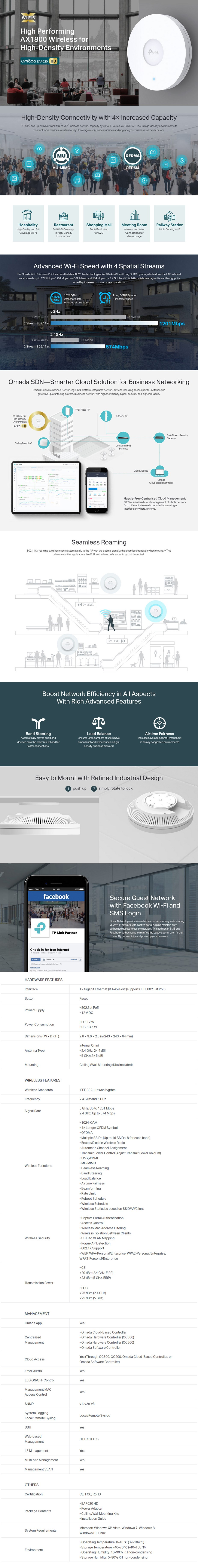 TP-Link EAP620-HD AX1800 Wireless Dual Band Gigabit Ceiling Mount Access Point - Overview 1