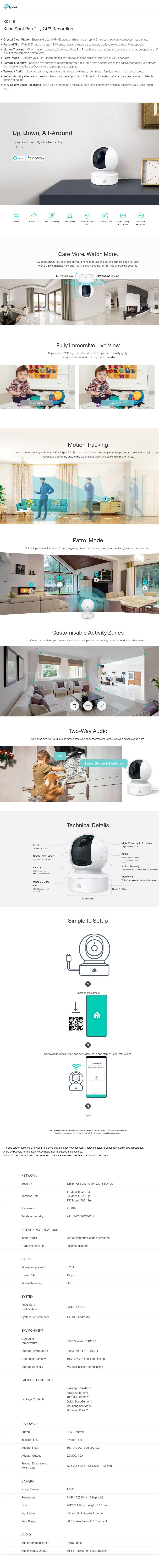 TP-Link KC115 Kasa Spot Pan Tilt 24/7 Recording Indoor Camera - Desktop Overview 1