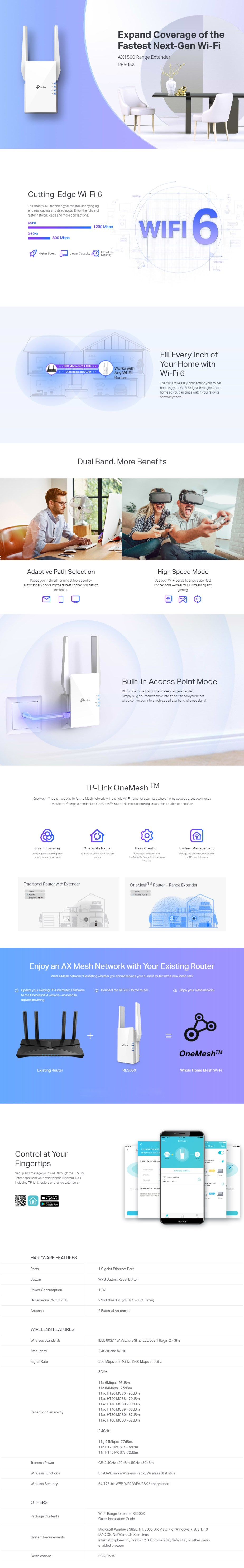 TP-Link RE505X AX1500 Wi-Fi Range Extender - Overview 1