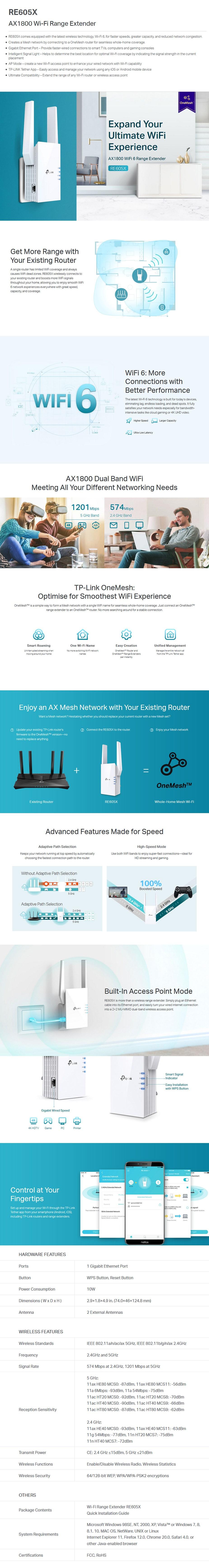 TP-Link RE605X AX1800 Wi-Fi Range Extender - Desktop Overview 1