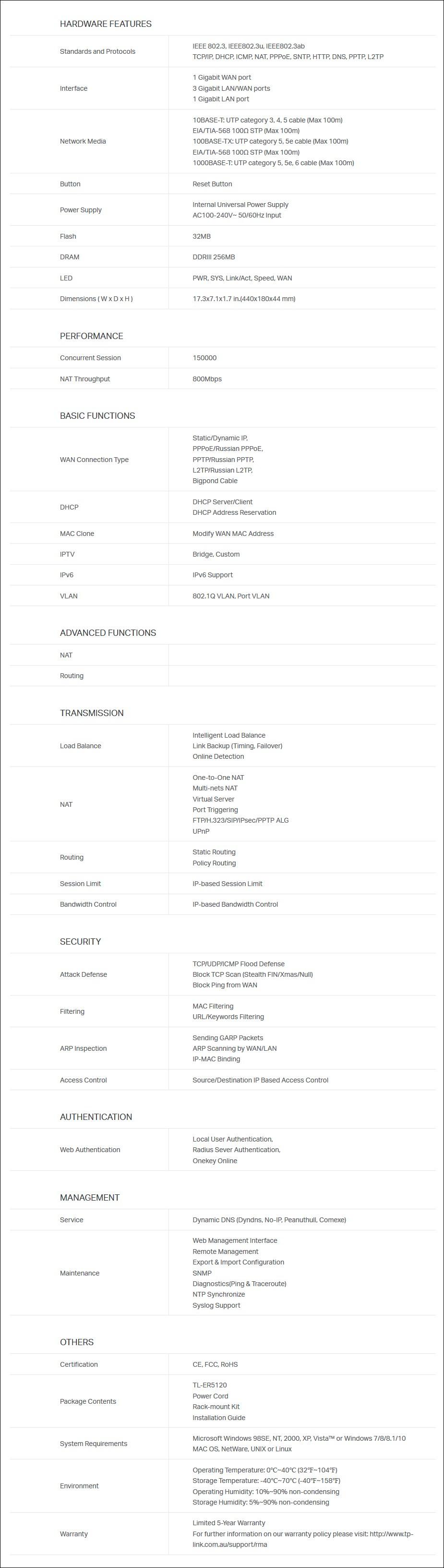 P-LINK TL-ER5120 5-Port Gigabit Multi-Wan Load Balance Router - Overview 2