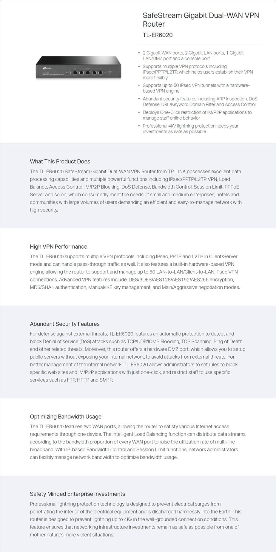 TP-Link TL-ER6020 SafeStream Gigabit Dual-WAN VPN Router - Overview 1