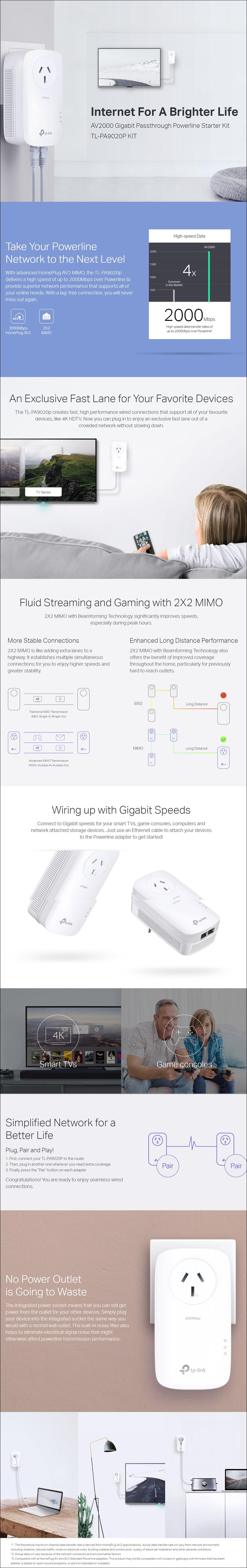 TP-Link TL-PA9020PKIT AV2000 2 Port Gigabit Passthrough Powerline Starter Kit - Overview 1