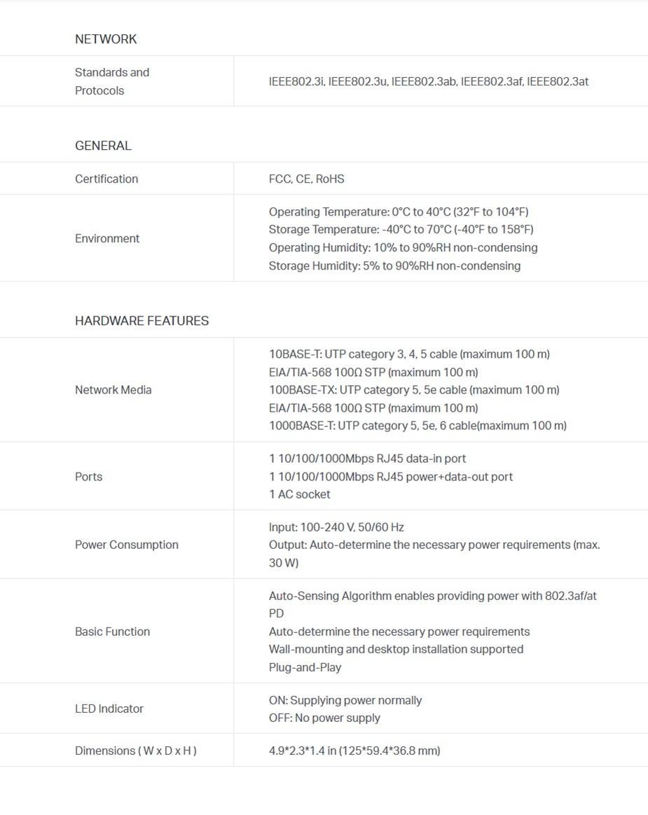 TP-Link TL-POE160S PoE+ Injector - Desktop Overview 1